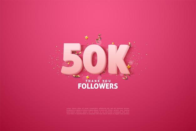 분홍색 배경에 부드러운 흰색 숫자로 5 만 명의 팔로워에게 감사드립니다.