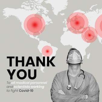 Спасибо за коронавирус медицинский персонал баннер шаблон вектор