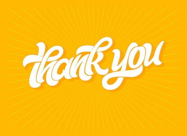 Thank you typography on bright orange background