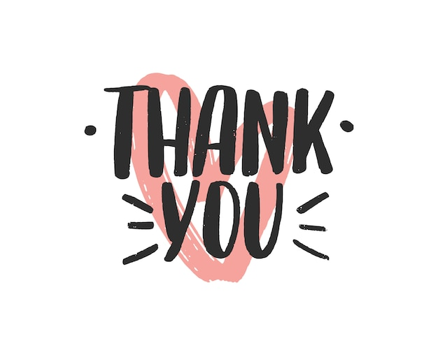 Thank you vector black brush lettering inscription, gratitude and thankfulness words.