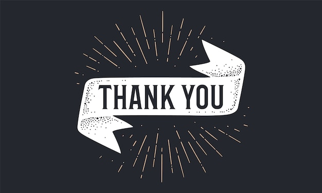 감사합니다. 감사합니다 텍스트와 빈티지 플래그 배너입니다. 선형 그리기 광선, 햇살과 함께 올드 스쿨 스타일의 리본 플래그