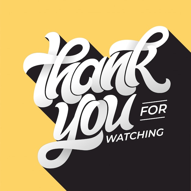 Thank you for watching retro typography. lettering in  style with long shadow in vintage colors. editable  template for banner, poster, message, post.  illustration.