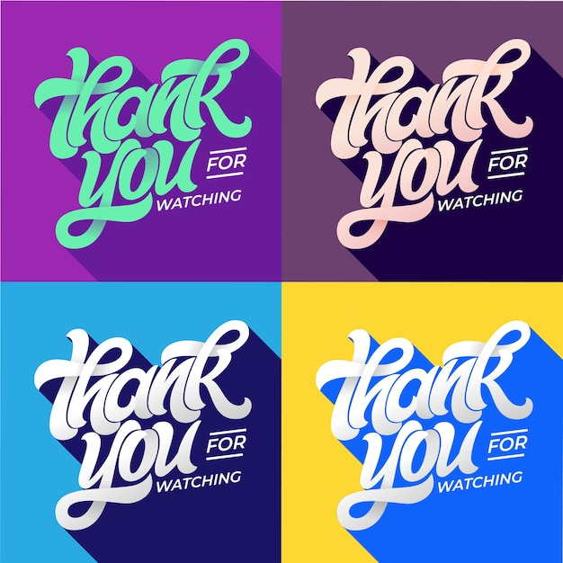 Thank you for watching typography. set of editable banners for social media. flat style lettering with long shadow in trending colors. template for banner, poster, message, post.