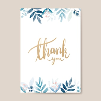Thank you watercolor card design vector