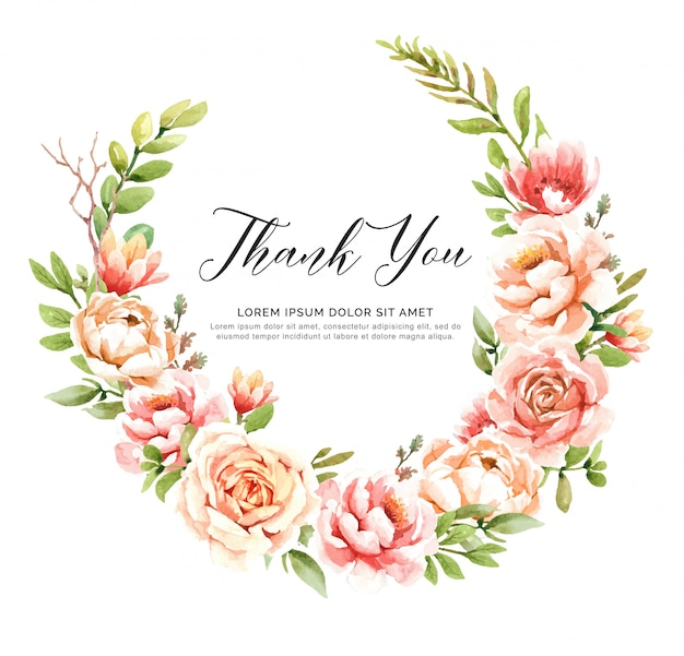 Thank you watercolor floral wreath.