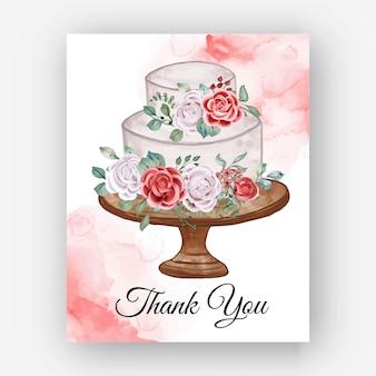ありがとう水彩ローズウエディングケーキテンプレートカード