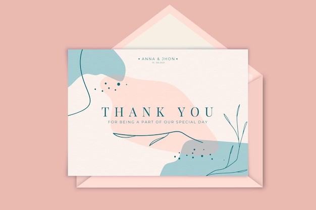Thank you wedding card template
