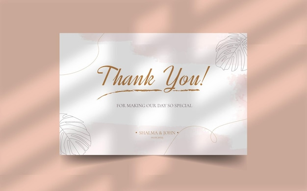Thank you wedding card with floral abstract organic shape template