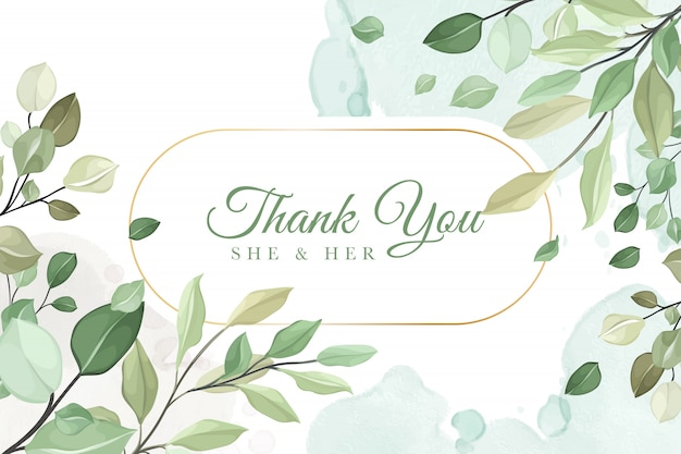 Thank you wedding invitation card in green leaves
