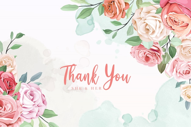 Thank you wedding invitation card with roses and leaves
