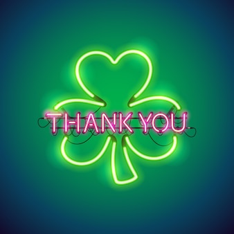 Thank you with clover neon sign