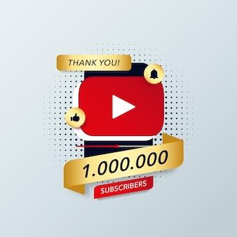 Спасибо подписчикам youtube векторный баннер шаблон