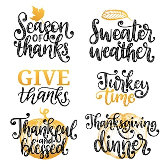 Thankful and blessed, sweater weather, turkey time, give thanks etc., vector handwritten calligraphy set.drawn illustrations for thanksgiving day. used for invitation, greeting card, poster.