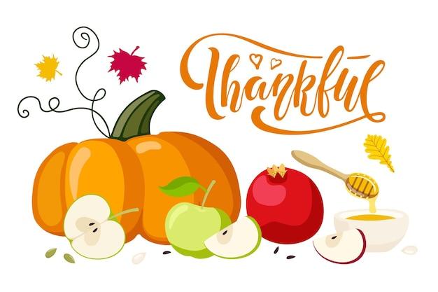 가을 야채 과일과 꿀 추수 감사절 타이포그래피로 쓴 감사한 손 프리미엄 벡터