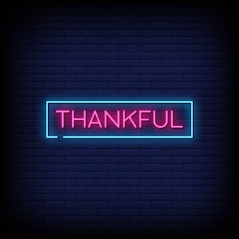 Thankful neon signboard