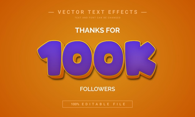 Thanks for 100k followers text effect