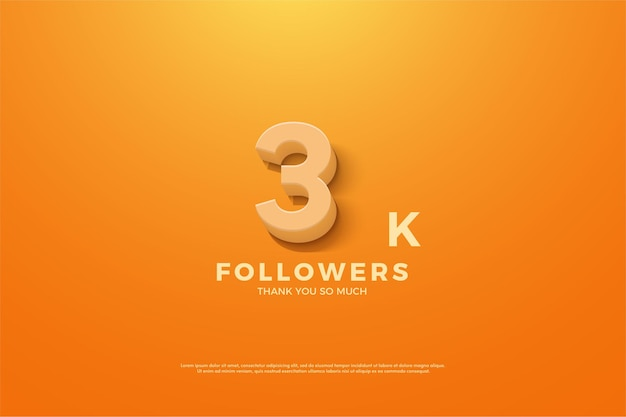 Thanks to 3k followers with animated numbers on orange background