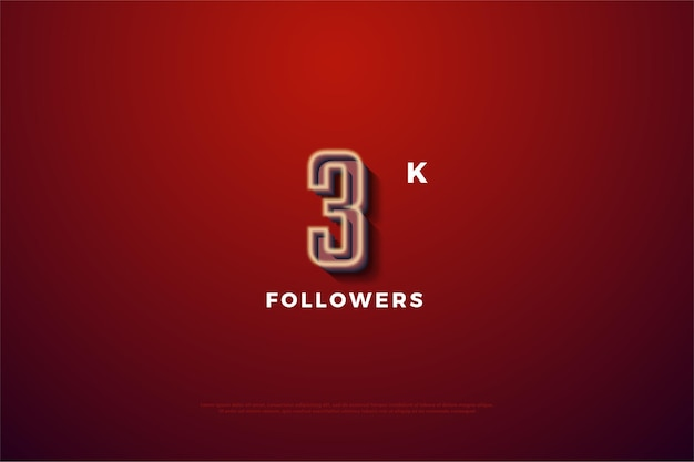 Thanks to 3k followers with soft white numeral line
