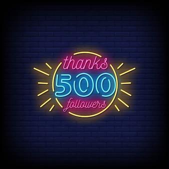 감사합니다 500 추종자 네온 사인 스타일 텍스트