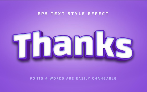 Thanks bold and blue 3d text style effect