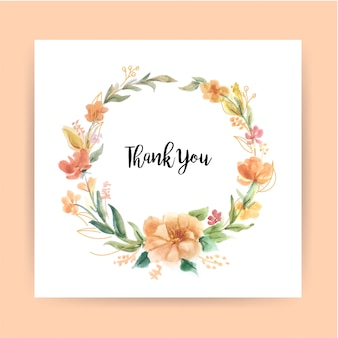Thanks card template with watercolor wreath