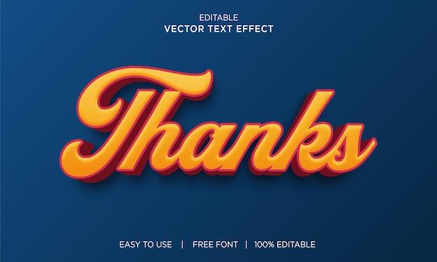 Thanks editable text effect design with premium vector