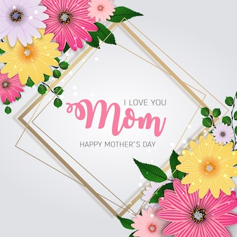 Thanks for everything, mom. happy mother`s day cute with flowers.  illustration