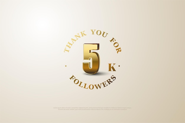 ゴールドの数字と文字で5000人のフォロワーに感謝します。