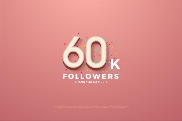60k 추종자 감사합니다. 숫자와 작은 다채로운 종이 뿌리가있는 분홍색.