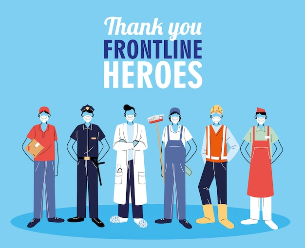 Thanks to the front line workers. diverse people from different occupations wear protective masks.
