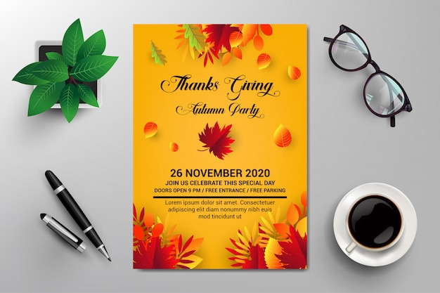 Thanks giving, autumn party flyer template