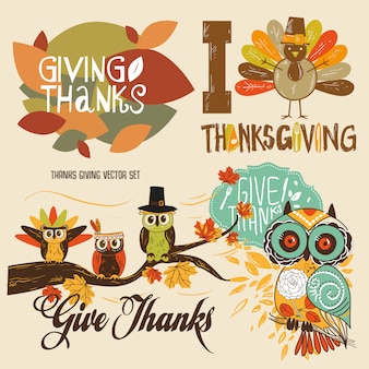 Thanks giving cute illustration vector set