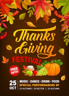 Thanks giving festival flyer with crop of pumpkin, grapes, honey and apples with pears.