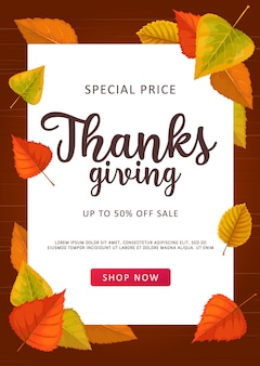 Thanks giving  sale banner, special price off shopping offer, promotional ad card with autumn leaves on wooden background. store, mall and market online promotion with cartoon fallen leaves