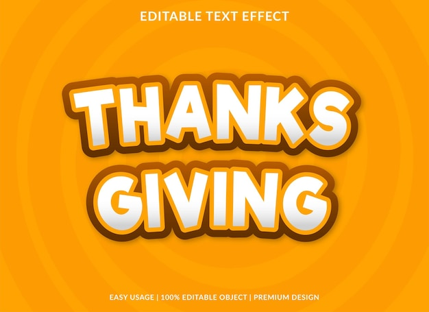 Thanks giving text effect template premium style use for logo and brand