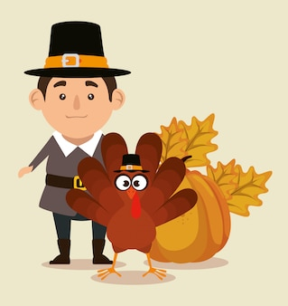 Thanks giving with turkey and pilgrim