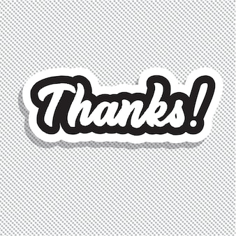 Thanks! hand lettering vector illustration.