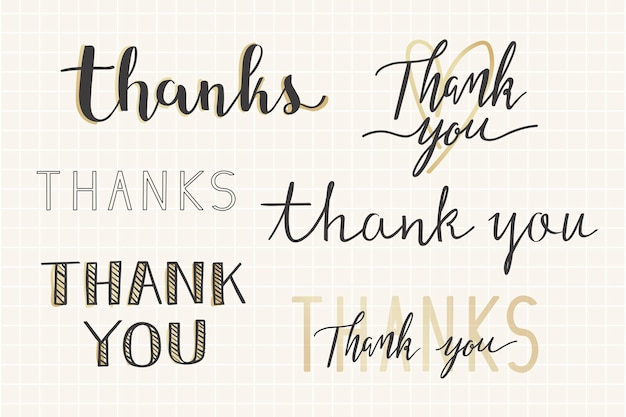 Thanks handwritten typography set