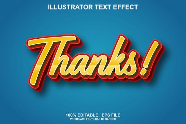 Thanks text effect editable