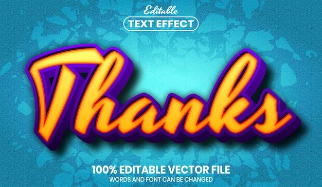 Thanks text, font style editable text effect