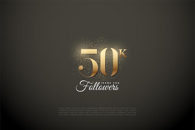 빛나는 금 번호와 반짝이를 가진 50k 팔로워들에게 감사드립니다.