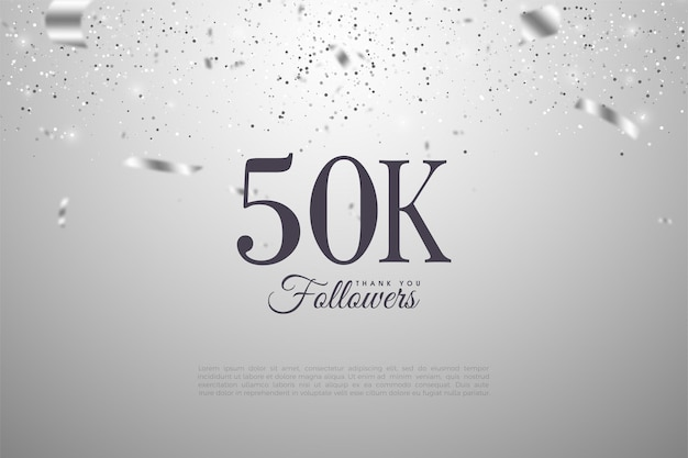 은색 리본이 달린 검은 숫자를 가진 50k 팔로워들에게 감사합니다.