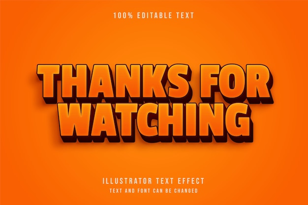 Thanks for watching,3d editable text effect yellow gradation red retro text effect
