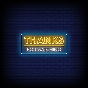 Thanks for watching neon signs style text