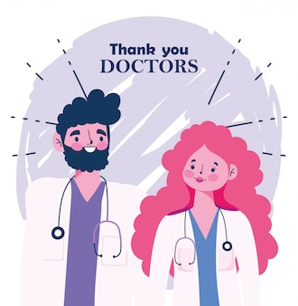 Thanks you doctors, male and female physicians with stethoscope and uniform