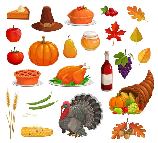Thanksgiving autumn holiday set with cartoon turkey, food and pilgrim hat. harvest pumpkin, apple and pie, cornucopia, fallen leaves, corn and grape, acorn, wheat, honey, wine, cranberries