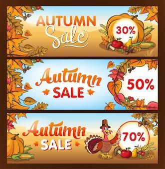 추수 감사절. 가을 세일. 광고 배너입니다. 레터링, 야채, 잎. 순례자 모자를 쓴 터키