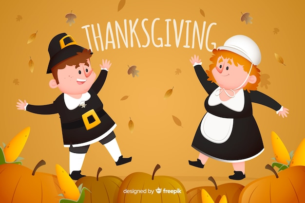Thanksgiving background flat design concept