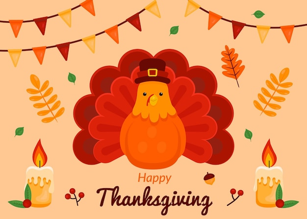 Thanksgiving background in flat design