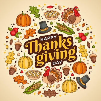 Thanksgiving background hand drawn design